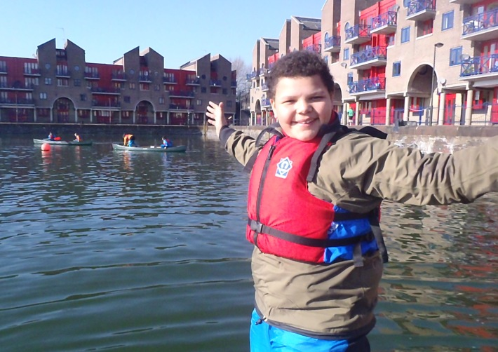 Tower Hamlets Youth learn canoeing on Shadwell Basin with the Shadwell Youth Project.