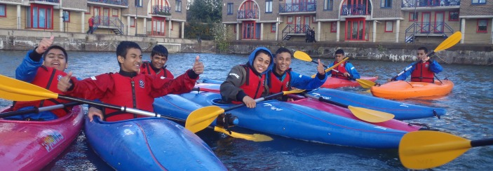 School kayaking at Shadwell Basin