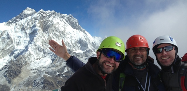 The team on the summit of Lobuche East, with Everest in the background.  Please click on the photo for further details of their trip and how to sponsor them.