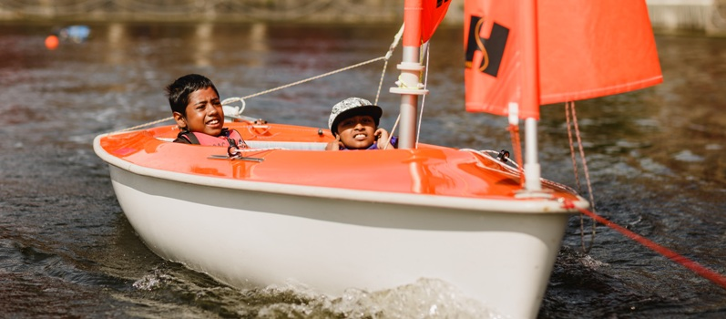 Adventure for All - young people from our Inclusion Programme enjoying sailing in one of our Access Dinghies.  Please click on the photo for more information on the programme.