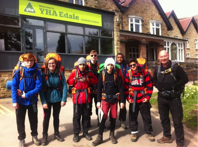Group ready to go in front of YHA Edale