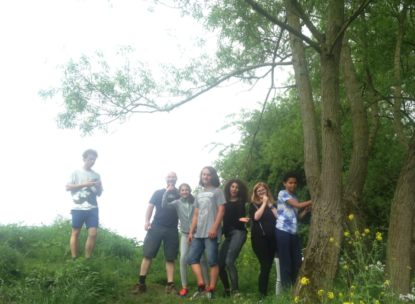 Group at Matlock standing by trees